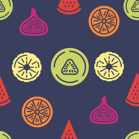 Colorful fruits icons pattern. Summer fruits seamless background. Healthy food seamless pattern vector illustration