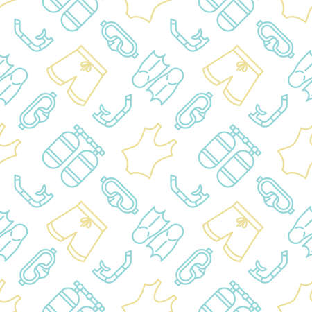Swimming and diving icons pattern. Summer beach accessories seamless background. Seamless pattern vector illustration