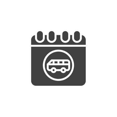 Bus trip date page vector icon. filled flat sign for mobile concept and web design. Travel reminder calendar glyph icon. Symbol, logo illustration. Vector graphics 向量圖像