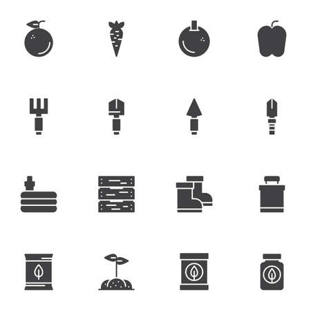 Gardening, horticulture vector icons set, modern solid symbol collection, filled style pictogram pack. Signs, logo illustration. Set includes icons as fruits, vegetables, shovel, rake, watering hose