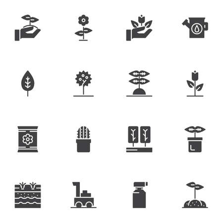 Gardening vector icons set, modern solid symbol collection, Farming filled style pictogram pack. Signs, logo illustration. Set includes icons as apple tree, growing plant in soil, seed pack, leaf