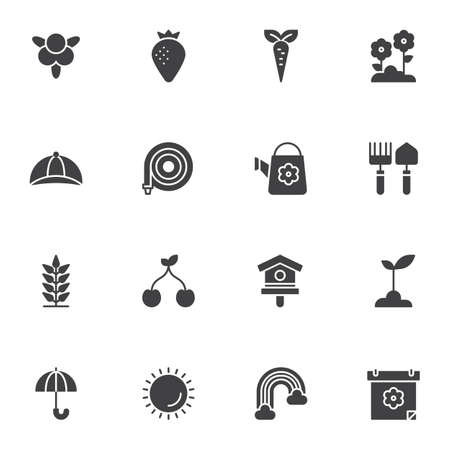 Spring, gardening vector icons set, modern solid symbol collection, filled style pictogram pack. Signs, logo illustration. Set includes icons as strawberry, carrot, flowers, watering hose, birdhouse Illustration