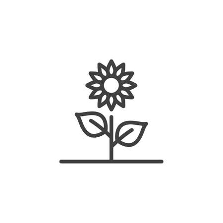 Sunflower line icon. Growing flower linear style sign for mobile concept and web design. Spring flower outline vector icon. Symbol, logo illustration. Vector graphics Çizim
