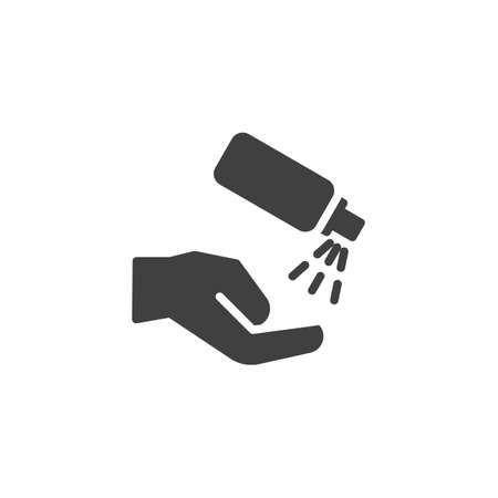Antiseptic for hands vector icon. filled flat sign for mobile concept and web design. Antibacterial spray for hands glyph icon. Hygiene symbol, logo illustration. Vector graphics Logo