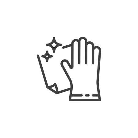 Reinigung mit Lappensymbol. Lineares Zeichen für mobiles Konzept und Webdesign. Handabwischen mit Stoffumriss-Vektorsymbol. Reinigungsservicesymbol, Logoillustration. Vektorgrafiken
