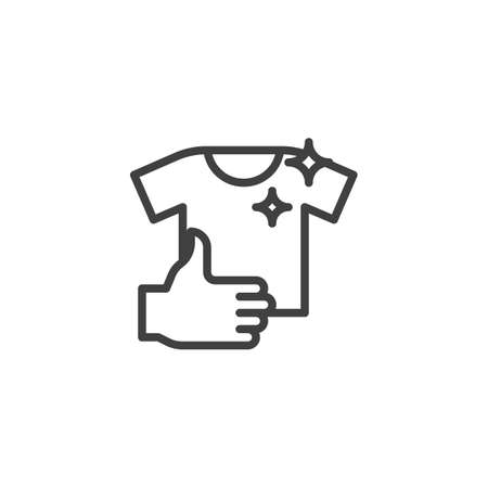 Clean T-shirt line icon. linear style sign for mobile concept and web design. Clean clothes outline vector icon. Laundry service symbol, logo illustration. Vector graphics