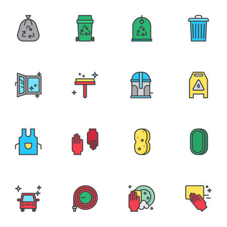 Cleaning and washing filled outline icons set, line vector symbol collection, linear colorful pictogram pack. Signs, logo illustration, Set includes icons as garbage bag, trash bin, clean window, soap