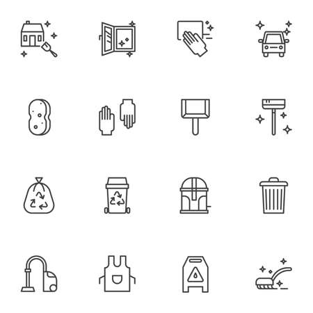 Cleaning service line icons set. linear style symbols collection, outline signs pack. vector graphics. Set includes icons as protective gloves, sponge, garbage bag, apron, car washing, house cleaning