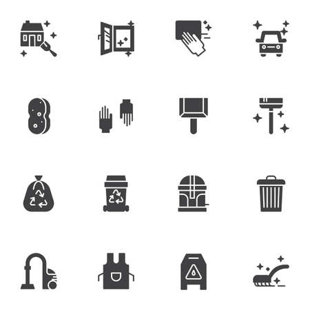 Cleaning service vector icons set, modern solid symbol collection, filled style pictogram pack. Signs, logo illustration. Set includes icons as protective gloves, garbage bag, apron, house cleaning