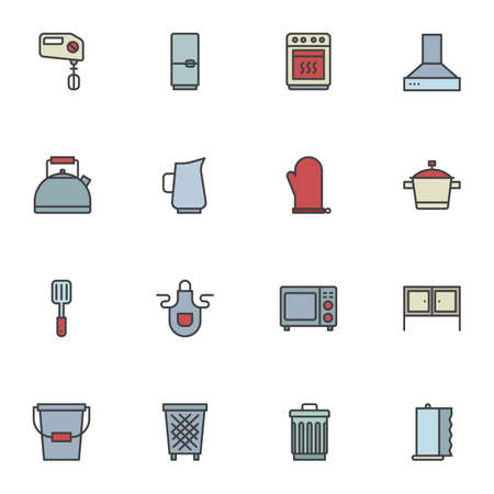 Kitchen appliances filled outline icons set, line vector symbol collection, linear colorful pictogram pack. Signs, logo illustration, Set includes icons as hand mixer, fridge, microwave stove, kettle 向量圖像