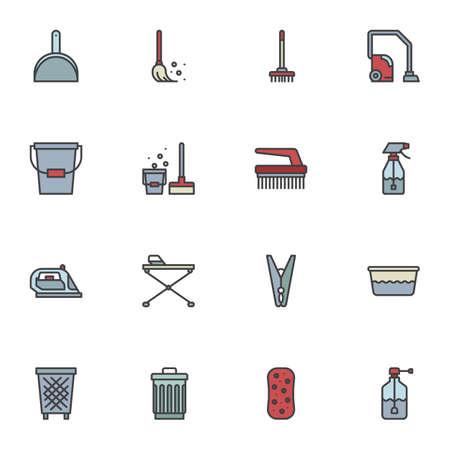 Hausreinigungsgeräte gefüllte Umrisssymbole, Linienvektorsymbolsammlung, lineares buntes Piktogrammpaket. Zeichen-Logo-Illustration, Set enthält Symbole wie Besen, Mopp, Schaufel, Bürste, Becken, Schwamm