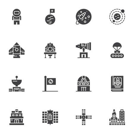 Space, astronomy vector icons set, modern solid symbol collection, filled style pictogram pack. Signs, logo illustration. Set includes icons as astronaut, satellite, observatory telescope, spaceship