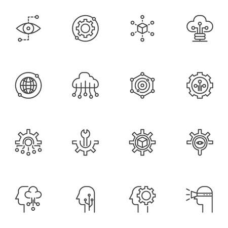 Technology, network connection icons set. linear style symbols collection, outline signs pack. vector graphics. Set includes icons as cloud computing, setting gear, maintenance, monitoring, vision