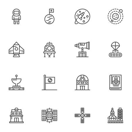 Space, astronomy line icons set. linear style symbols collection, outline signs pack. vector graphics. Set includes icons as astronaut, planet satellite, observatory telescope, spaceship rocket 向量圖像