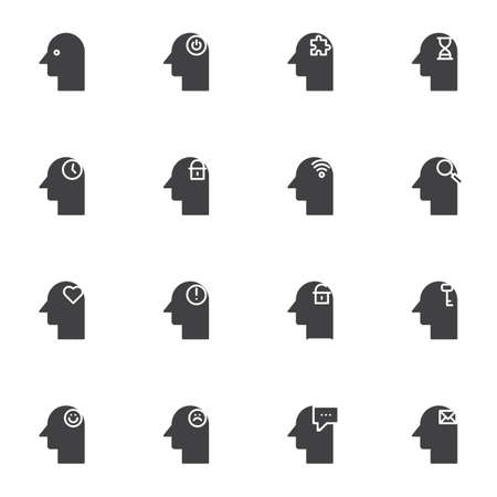 Human mind vector icons set, modern solid symbol collection, filled style pictogram pack. Signs, logo illustration. Set includes icons as problem solving, mind secrecy, depression mood, time control