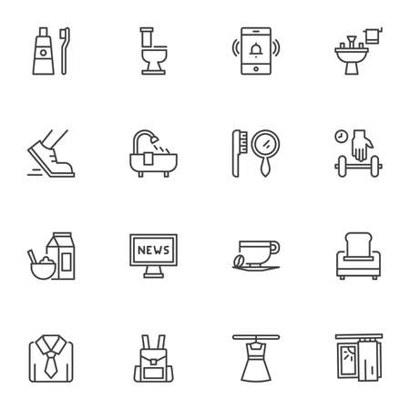 Morning routine line icons set. linear style symbols collection, outline signs pack. Morning time vector graphics. Set includes icons as alarm clock, teeth washing, sport, shower, breakfast, dressing 向量圖像