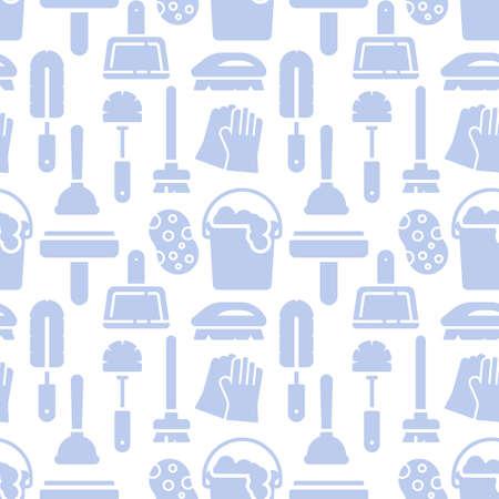 Travaux ménagers, modèle d'icônes de nettoyage. Arrière-plan transparent de service de nettoyage. Illustration vectorielle de modèle sans couture