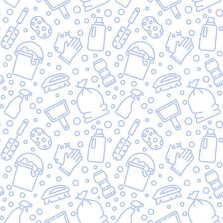 Nettoyage, modèle d'icônes de travaux ménagers. Arrière-plan transparent de service de ménage. Illustration vectorielle de modèle sans couture Vecteurs