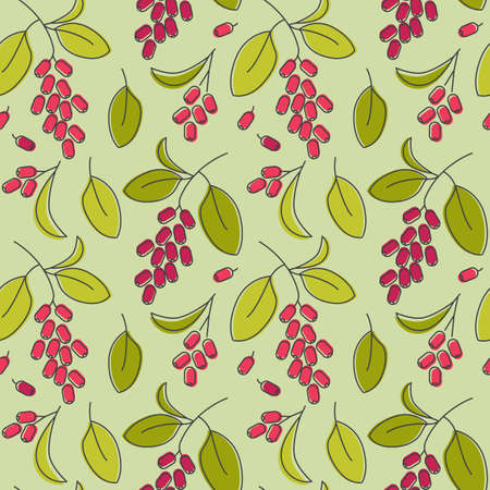 Red barberry icons pattern. Barberry seasoning seamless background. Seamless pattern vector illustration
