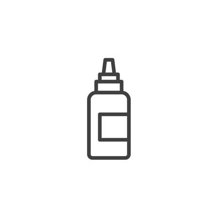 Mustard Bottle line icon. linear style sign for mobile concept and web design. Mayo squeeze bottle outline vector icon. Symbol, illustration. Vector graphics