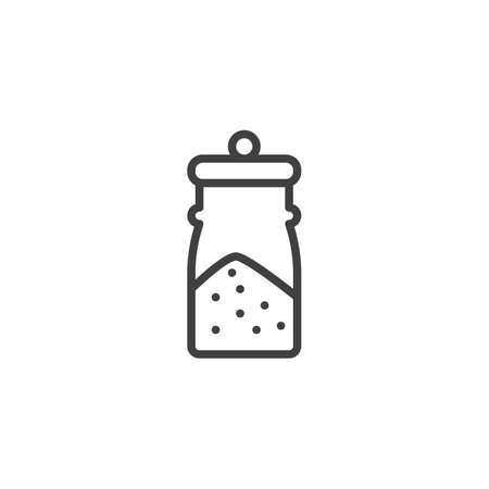 Spices jar line icon. linear style sign for mobile concept and web design. Glass jar with condiments outline vector icon. Symbol, illustration. Vector graphics