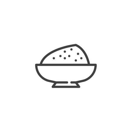 Flour bowl line icon. linear style sign for mobile concept and web design. Condiment bowl outline vector icon. Symbol, illustration. Vector graphics