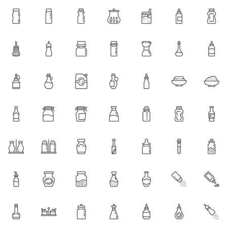 Condiment sauces line icons set. Spices bottles linear style symbols collection, outline signs pack. vector graphics. Set includes icons as olive oil, mustard mayonnaise ketchup, jalapeno pepper sauce