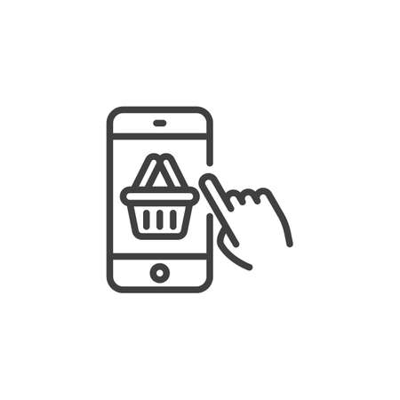 Online mobile shopping line icon. Add purchase screen linear style sign for mobile concept and web design. Smartphone with shopping cart outline vector icon. Symbol, illustration. Vector graphics