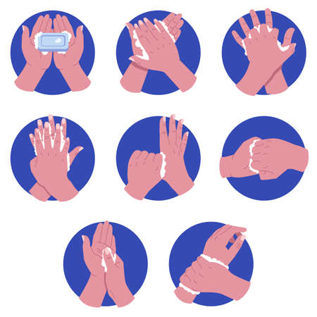 Hands washing steps vector illustration set. Hand hygiene prevention concept. Flat style design. Colorful graphics  イラスト・ベクター素材