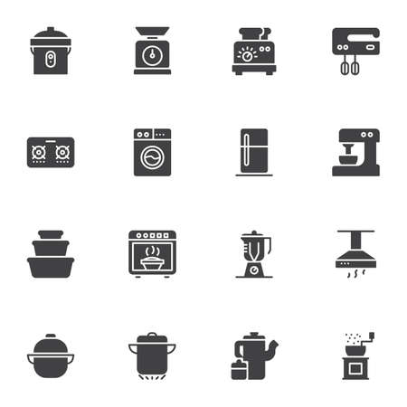 Kitchen utensils vector icons set, modern solid symbol collection, Kitchenware filled style pictogram pack. Signs, logo illustration. Set includes icons as toaster, electric mixer, blender, fridge