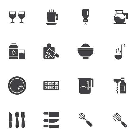Tableware vector icons set, modern solid symbol collection, Kitchen utensils filled style pictogram pack. Signs logo illustration. Set includes icons as  cutting board, spoon knife fork cutlery, plate Çizim