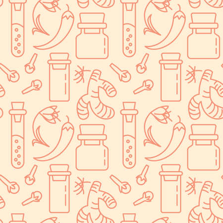 Herbs and Condiment icons pattern. Spices for cooking seamless background. Seamless pattern vector illustration Иллюстрация