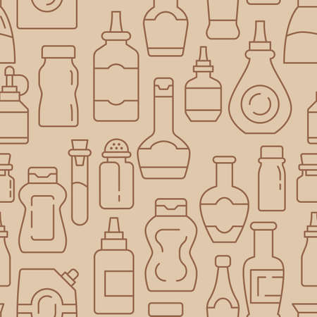 Condiments and sauce bottles icons pattern. Seasoning for cooking seamless background. Seamless pattern vector illustration