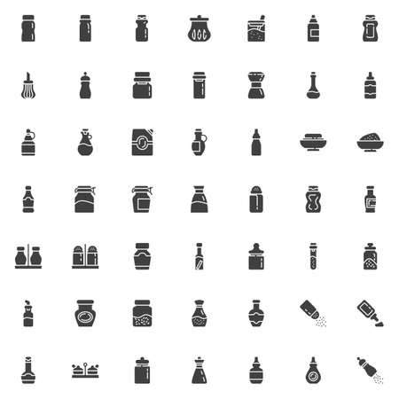 Condiment sauces vector icons set, modern solid symbol collection, filled style pictogram pack. Signs, logo illustration. Set includes icons as Spices bottles, mustard, mayonnaise, ketchup, peper