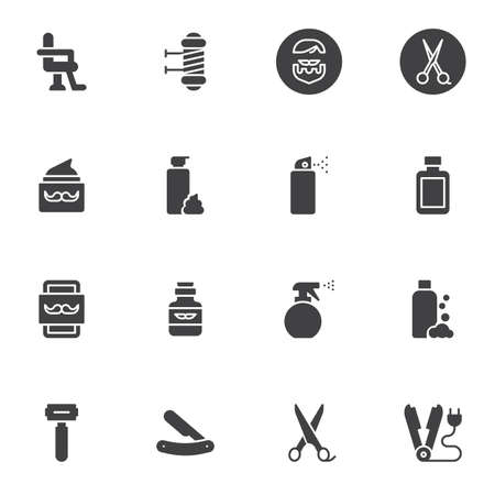 Barber shop accessories icons set, modern solid symbol collection, filled style pictogram pack. Signs, illustration. Set includes icons as armchair, scissors, shave razor, mustache balsam