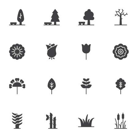 Plants and flowers icons set, modern solid symbol collection, filled style pictogram pack. Signs, illustration. Set includes icons as park tree leaves, rose flower, rosebud, grass, cane Vektorové ilustrace