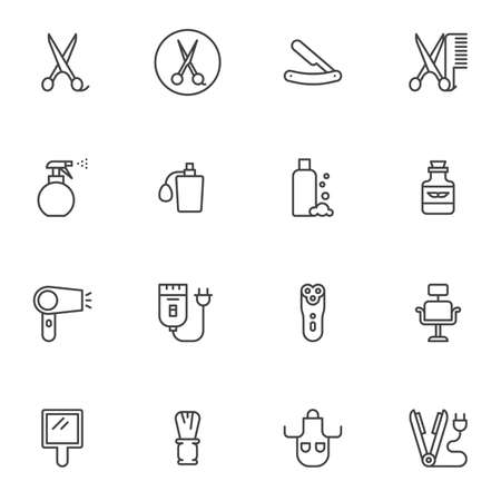 Barber shop line icons set. linear style symbols collection, outline signs pack. Hairdressing salon graphics. Set includes icons as scissors, hair clipper, shave razor, mustache balsam bottle 向量圖像