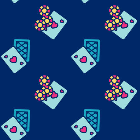 Playing cards and casino chips icons pattern. Casino gambling seamless background. Seamless pattern vector illustration
