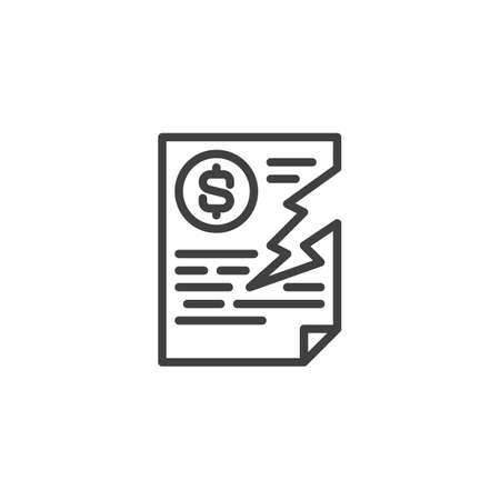Damaged dollar invoice line icon. Financial contract termination linear style sign for mobile concept and web design. Torn bank check outline vector icon. Symbol, logo illustration. Vector graphics