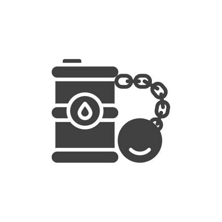 Crude oil crisis vector icon. filled flat sign for mobile concept and web design. Oil barrel chained dumbbell glyph icon. Symbol, logo illustration. Vector graphics