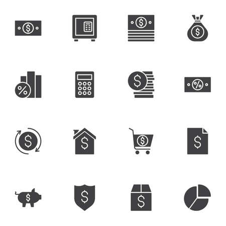 Banking and finance vector icons set, modern solid symbol collection, filled style pictogram pack. Signs, illustration. Set includes icons as money bill, deposit box, dollar coin, piggy bank