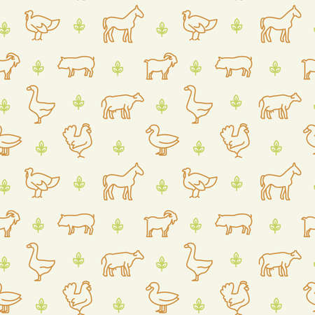 Domestic animals icons pattern. Farm animals seamless background. Seamless pattern vector illustration