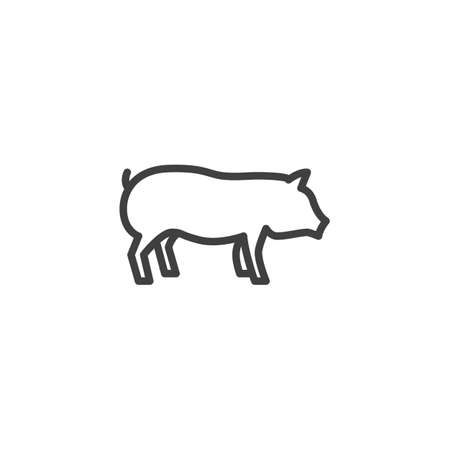 Pig farm animal line icon. linear style sign for mobile concept and web design. Livestock, swine side view outline vector icon. Symbol, illustration. Vector graphics