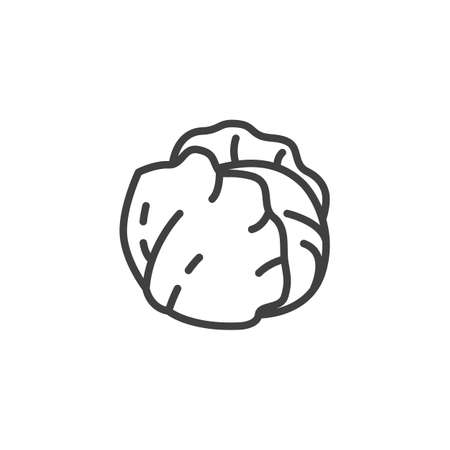 Fresh cabbage line icon. linear style sign for mobile concept and web design. Cabbage leaves outline vector icon. Symbol, illustration. Vector graphics