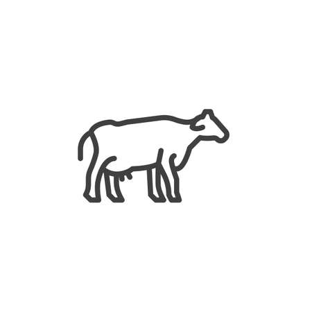 Cow, farm animal line icon. linear style sign for mobile concept and web design. Livestock cow, side view outline vector icon. Symbol, illustration. Vector graphics