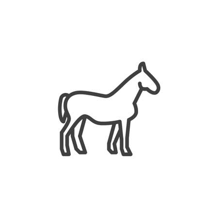 Horse farm animal line icon. linear style sign for mobile concept and web design. Livestock horse side view outline vector icon. Symbol, illustration. Vector graphics