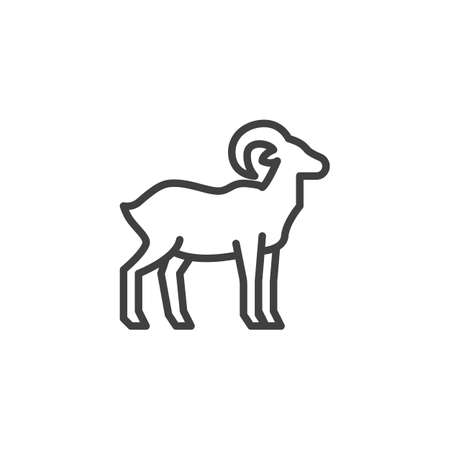 Goat farm animal line icon. linear style sign for mobile concept and web design. Livestock, goat side view outline vector icon. Symbol, illustration. Vector graphics