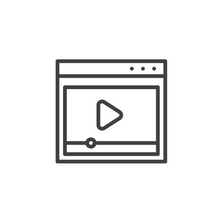 Web media player line icon. linear style sign for mobile concept and web design. Online Video player outline vector icon. Symbol, illustration. Vector graphics