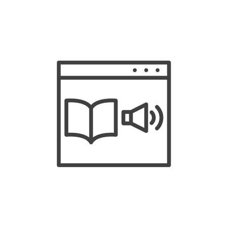 Online bookstore library line icon. Audio book website linear style sign for mobile concept and web design. E-learning distance education outline vector icon. Symbol illustration. Vector graphics Ilustração