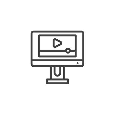 Video player interface line icon. linear style sign for mobile concept and web design. Computer media player outline vector icon. Symbol, illustration. Vector graphics